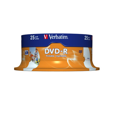 Verbatim DVD-R 4.7GB 16X 25pack AZO WIDE PRINTABLE cake box - 43538